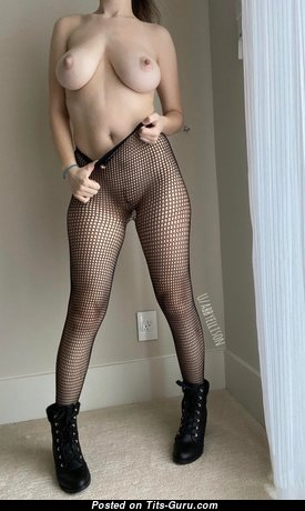 Cute Glamour Escort & Playboy Girlfriend with Cute Exposed Tight Jugs & Erect Nipples in Stockings (Porn Picture)