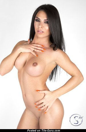 Image. Sexy nude brunette with fake tittys picture