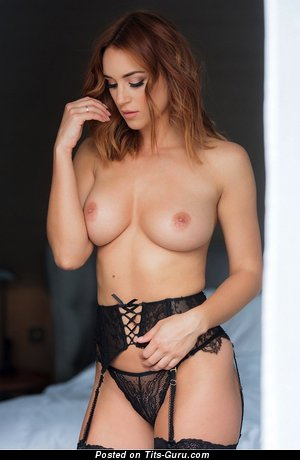 Nude brunette with natural boobs image