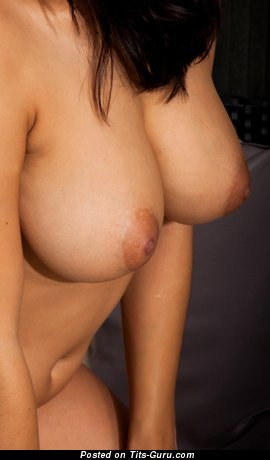 Nude brunette with big natural boob picture