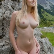 Blonde with medium natural boob pic