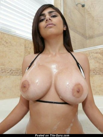 Image. Mia Khalifa - sexy wet topless brunette with big breast and big nipples photo