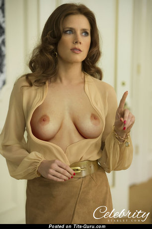 Amy Adams & Delightful Topless Italian Red Hair & Blonde Babe, Actress & Pornstar with Delightful Bare Real Medium Tits & Red Nipples in High Heels (Hd Porn Photo)