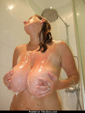 Image. Wet amateur nude amazing female with huge natural boob pic