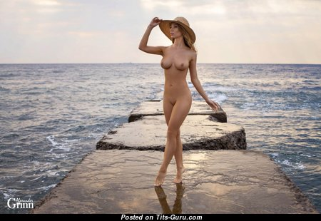 Hot Topless Blonde Babe with Hot Bare Natural Soft Tots (Sexual Photoshoot)