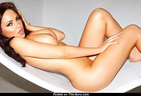 Sabine Jemaljanova - Adorable Topless Brunette Babe with Adorable Bare Natural Soft Boobs (Sex Wallpaper)
