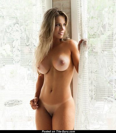 Amanda Sagaz - Handsome Topless Brazilian Blonde Babe with Handsome Bald Real Mid Size Tots & Tan Lines (Sexual Pix)