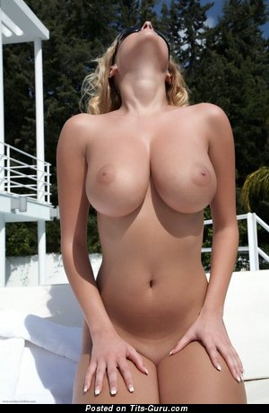 Fascinating Babe with Fascinating Bald Ddd Size Tit & Tan Lines (Porn Photoshoot)