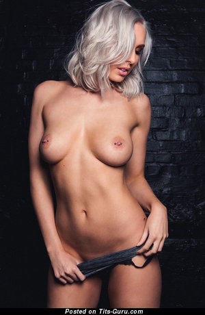 Image. Lissy - naked blonde with medium natural boob and piercing photo