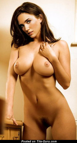 Image. Brunette with big natural boob photo