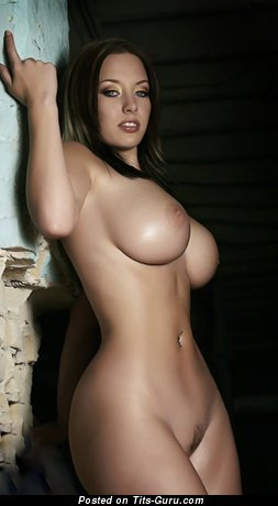 Alluring Topless Brunette Babe with Alluring Bald Round Fake C Size Tots (Hd 18+ Pix)