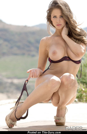 Hot Topless Brunette Babe with Hot Bare Medium Boobie & Weird Nipples (Sexual Image)
