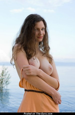 Susann - sexy naked brunette with medium natural breast image