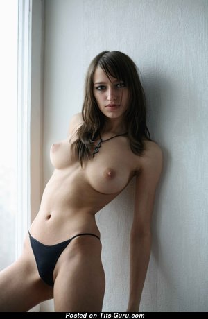 Delightful Brunette with Delightful Exposed Medium Sized Tots (Hd 18+ Photo)