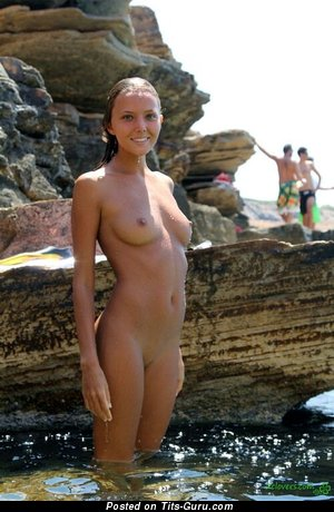 Nude awesome lady with medium natural breast pic