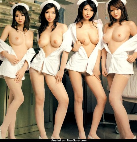 Adorable Topless Asian Nurse, Girlfriend & Babe with Adorable Defenseless Regular Titty (Cosplay Sexual Image)