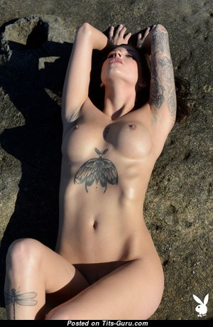 Lena Klahr - Handsome Unclothed Brunette Babe with Tattoo (Hd Porn Photo)