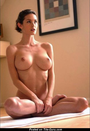 Topless brunette with medium tits picture