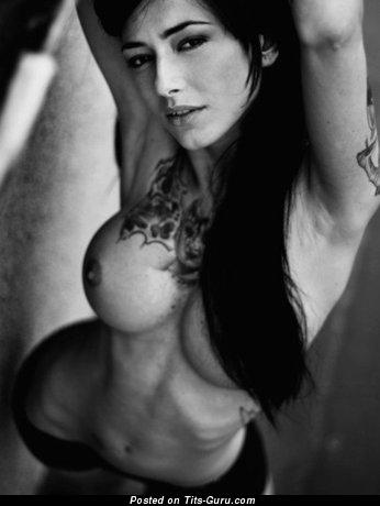 Nude wonderful girl with big fake boobies image
