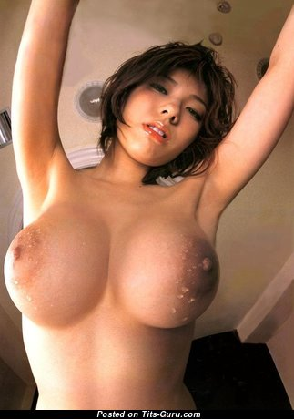Delightful Topless & Wet Asian Brunette Babe with Delightful Nude H Size Tittes in High Heels (Xxx Image)
