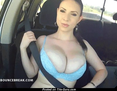 Image. Naked brunette with huge natural boobies gif