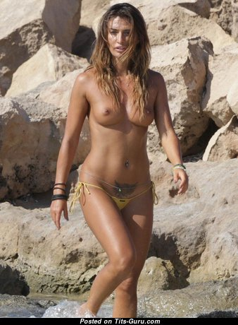 Gorgeous Unclothed Brunette in Bikini on the Beach (Hd Porn Photo)