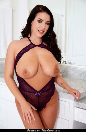 Angela White - sexy naked brunette with natural boob pic