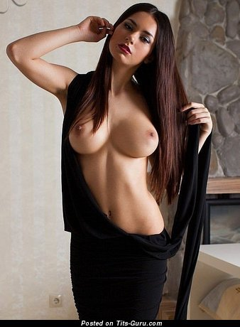 Image. Sexy naked brunette with big boobies picture