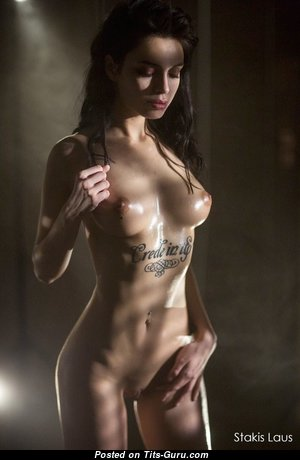 Dazzling Topless, Wet & Glamour Brunette with Long Nipples, Tattoo (18+ Image)