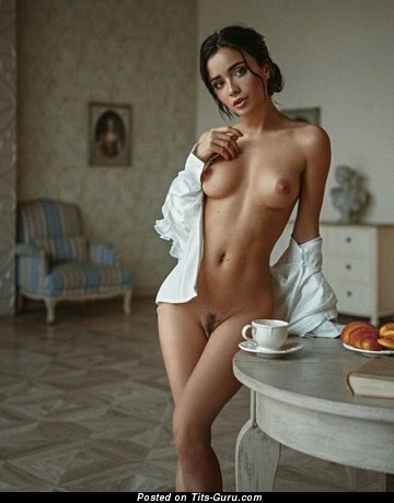 Sexy topless brunette with small tots picture