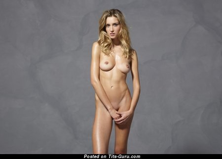 Naked nice girl with medium natural breast picture