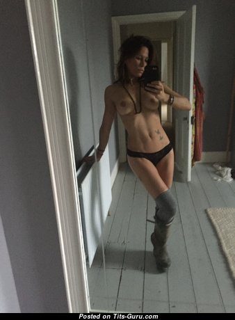 Rhona Mitra - Magnificent Topless British Brunette with Magnificent Bald Natural Firm Boobs in Socks & Panties (Selfie Hd Sexual Picture)