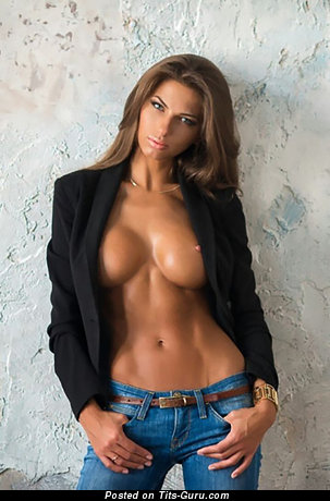 Image. Sexy topless hot girl with medium fake breast image