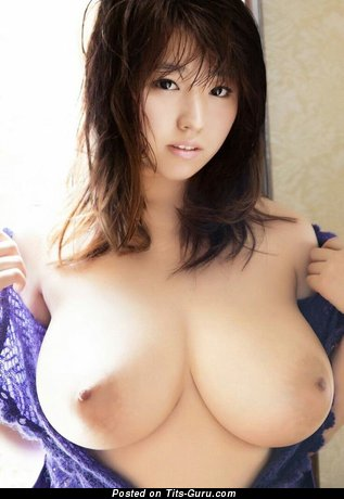 Delightful Topless Asian Brunette Babe with Delightful Naked Natural Ddd Size Tit (Xxx Photo)