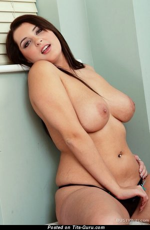 Image. Sexy nude brunette with big natural boob and big nipples image