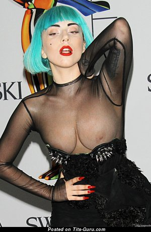 Lady Gaga - Alluring Topless American Blonde Singer & Actress with Alluring Open Natural C Size Melons, Pointy Nipples, Piercing & Tattoo (Vintage Hd Sexual Image)
