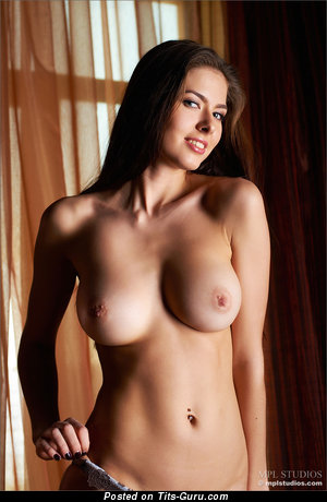 Fine Brunette Babe with Fine Bare Natural Very Big Busts & Piercing (Hd Porn Image)