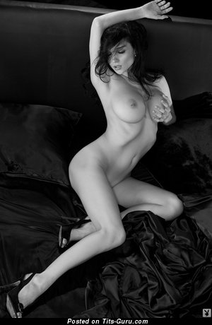 Grand Playboy Brunette with Grand Exposed Natural Substantial Tots (Hd Sex Image)