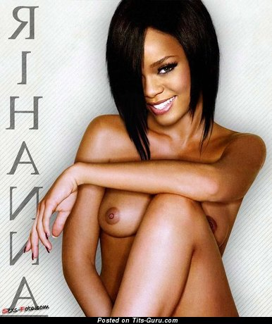 Rihanna - Perfect Topless Ebony Brunette Singer & Actress with Perfect Bare Natural Meager Boobs (Porn Pix)