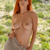 Red hair with big natural boob picture