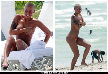 Amber Rose - Pretty Topless, Wet & Painted American Blonde Singer with Pretty Defenseless Natural H Size Melons, Giant Nipples, Tattoo (Home Sex Pix)