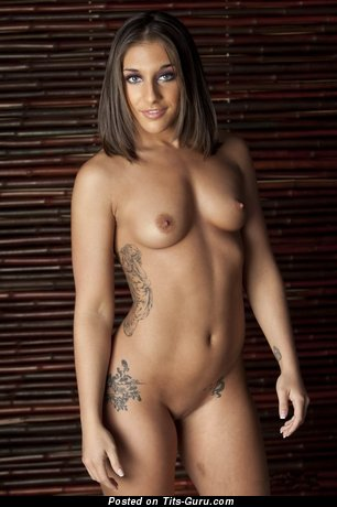Image. Naked brunette with small natural boob and tattoo photo