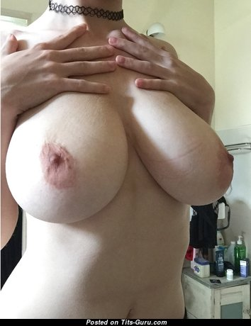 Handsome Topless Floozy with Handsome Bald Real G Size Boobie & Enormous Nipples (Amateur Hd Sexual Photo)