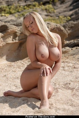 Gorgeous Blonde Babe with Gorgeous Naked Fake Normal Busts & Pointy Nipples on the Beach (Hd Sexual Pix)