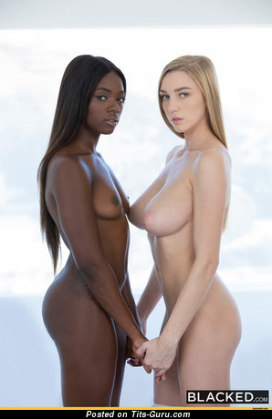 Cute Topless Ebony Brunette & Blonde with Cute Exposed Natural D Size Melons (Hd Porn Pix)