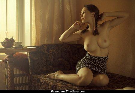 Ксюша Егорова - Charming Lassie with Charming Naked Medium Boobie (Vintage Porn Wallpaper)