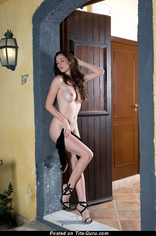 Image. Naked brunette with big natural boobies photo