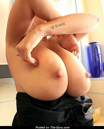 Naked hot lady with huge natural boob gif