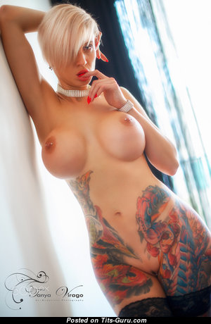 Tanya Virago - Handsome Topless & Glamour Blonde Mom & Babe with Handsome Exposed Fake Medium Sized Boobies, Piercing & Tattoo in Stockings is Doing Fitness (Hd Porn Pic)