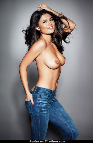 Image. Sexy topless brunette with natural tittes and big nipples picture